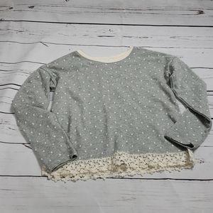 Gap kids girls sweater cream polka dots and lace